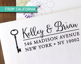 custom ADDRESS STAMP with proof from USA, Eco Friendly Self-Inking stamp, Custom Stamp, Address Stamp,Stamp with Key, Wedding Stamp Key2