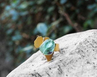 Africa Ring, Natural Stone Ring, Wire Wrapped Ring, Tourmaline Stone, Brass Ring, Afropunk, Mama Africa Tourmaline Brass Ring