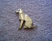 "Vintage bronze brass geometric dog pin brooch 1.5"" high Art Deco look unmarked"