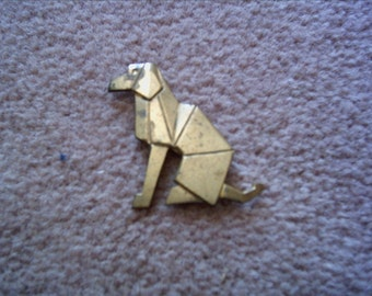 "Vintage bronze brass geometric dog pin brooch 1.5"" high Art Deco look unmarked"
