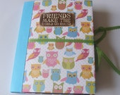 Premade Scrapbook Album Mini, Owls, best friends book,Girlie, Fun and Funky, Colorful,Teen