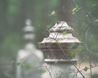 Fall Print, Cemetery Headstone Photography, Tombstone Art Photo, Nature, Cemetery Art, Green and Gray Wall Art,