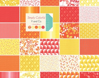 "Moda SIMPLY COLORFUL Precut 5"" Charm Pack Fabric Quilting Cotton Squares V and Co 10840PP"