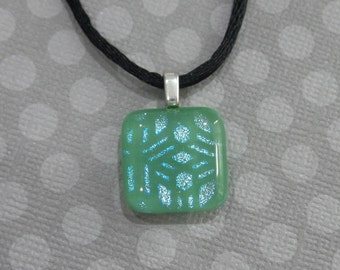 Mineral Green Pendant with Blue Patterned Dichroic, Fused Glass Necklace, Ready to Ship - Morgan - -5