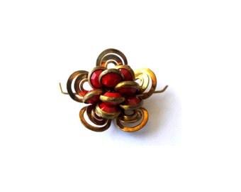 Swarovski channel beads embedded in plated metal flower, RARE ANTIQUE VINTAGE