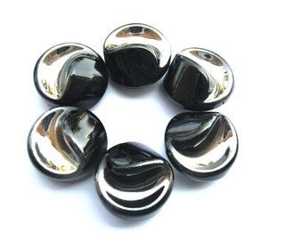 6 Glass buttons antique vintage Czech black with silver color ART DECO 22mm