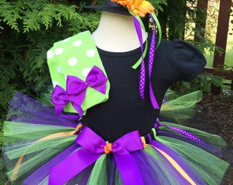 Baby Girl Witch Costume - Halloween Witch Tutu and Hat - Toddler Costume - Hat, Tutu and Leg Warmers