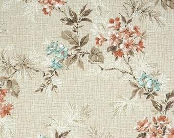 1950s Vintage Wallpaper by the Yard - Floral Vintage Wallpaper Branches with Blossoms