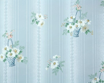 1930's Vintage Wallpaper - Baskets of White Daisies on Blue