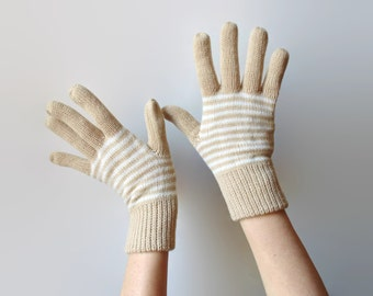 Beige Gloves with Stripes - Wool Knit Gloves
