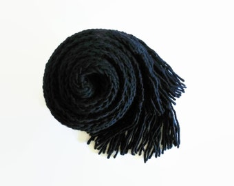 Black Merino Wool Chunky Knit Scarf, Winter Long Scarf, Fringes Scarf, Mens, Womens Scarves, Hand Knitted, Cute, Wrap Scarf, Ribbed Scarf
