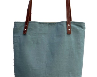 Resort Tote Bag, Women's Tote, Blue Tote, Resort Bag, Blue Tote, Beach Bag, Linen Burlap Bag,  Beach Tote, Linen Leather Tote, Canvas Bag