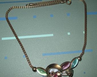 Vintage MOD 50s Pastel Multi-Color Glass Cabochon Choker Necklace