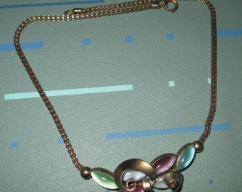 Last Call.....Vintage MOD 50s Pastel Multi-Color Glass Cabochon Choker Necklace