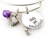 Little Mermaid Bangle - She's Got Everything - Hand Stamped Adjustable Bracelet