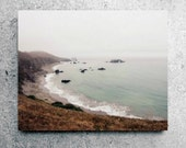 Beach Photography, Canvas Wrap, Ocean Photography, Ocean Canvas, Natural Brown, Rustic Decor, California Coast, Nature Wall Art Canvas