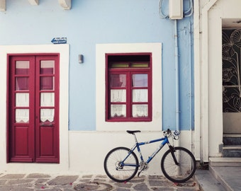 "Bicycle art print blue red decor Greece photography house door windows dorm room bike wall art ""Cornflower Bike"""