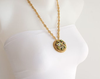 Gold Beaded Necklace, Pendant with Swarovski Crystal Flowers, Emerald Green and Gold Swirl Cabochon. Long Necklace Medallion Pendant S-301