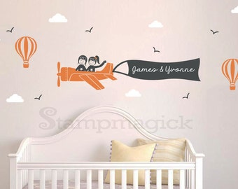 Flying Plane Wall Decal - Vinyl Wall Decor Boy Girl Airplane Scene Hot Air Balloons for Nursery - Wall Graphics Sky - Name Banner - K249C