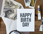Marble Lined Happy Birthday Greeting Card Black Cream Gold