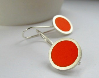 Pop Orange Round Drop Earrings -  Silver Dangle Earrings - Orange Resin Jewellery - Birthday Gift for a Friend