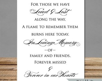 Memorial Sign - 5x7 and 8x10 - Instant Upload Files - Wedding Signs In Memory Of- pdf and jpg printable file