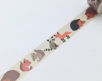 Woodland Washi Tape • Squirrel Decorative Tape • Fox Washi Tape • Forest Critters Washi Tape • Hedgehog Washi Tape • Raccoon Washi Tape