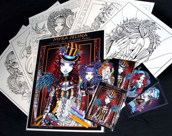 Set 1 - Five Pages - Steampunk - Rockabilly - Myka Jelina Art - Coloring Pages & Trading Card