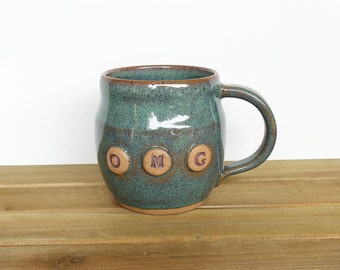 Stoneware Pottery Mug in Sea Mist, Ceramic Coffee Cup, OMG