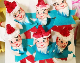 Vintage Christmas Package Toppers Decor Elf Elves