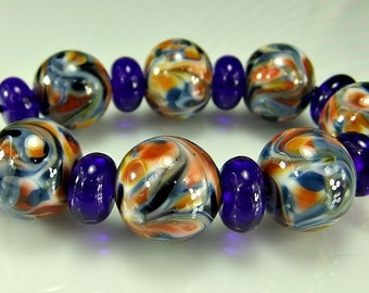 Blue Orange Lampwork Bead Set SRA Glass Beads
