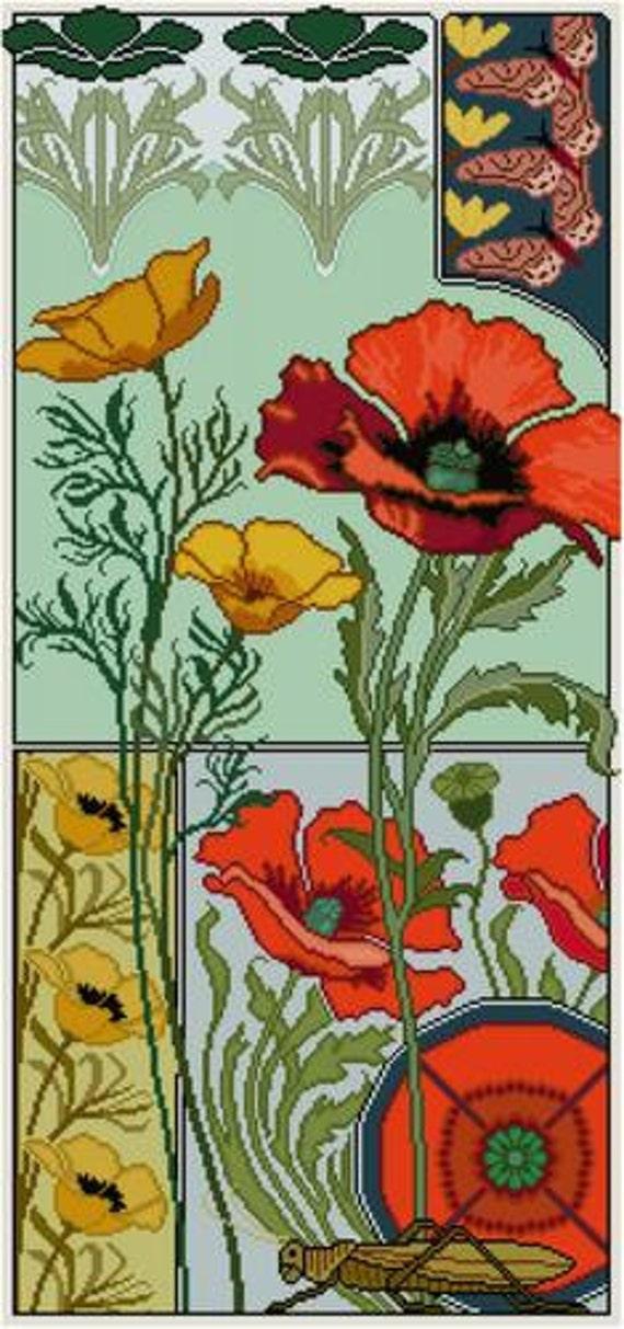 Art Nouveau Inspired California Poppy By Mason Larose: Red Poppies Floral Panel Cross Stitch Pattern PDF Yellow