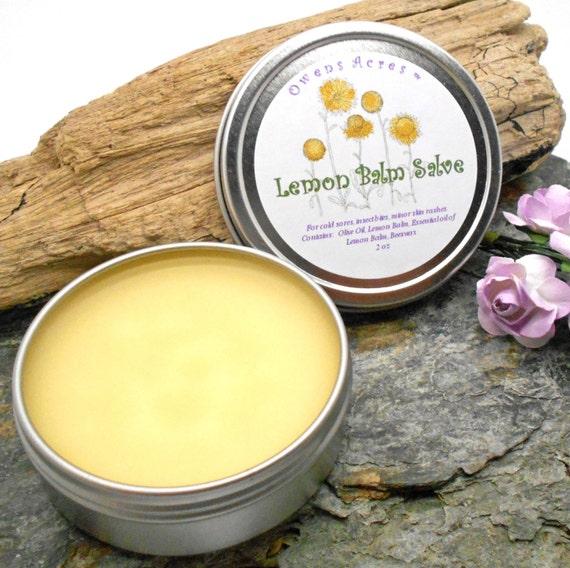 Lemon Balm Salve - Lips, Lip Balm, Blister, Insect Bites, Rash, Herbal Salve, Skin Salve, Antiseptic, Cold Sores