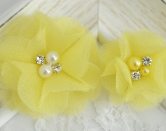 New! Set of 2pcs Handmade Organza Flowers--Yellow