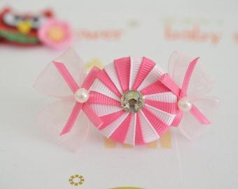 NEW! Set of 2pcs handmade Grosgrain Candy Bows--light pink/carnation (GR1173)