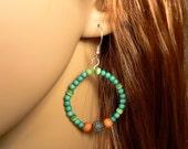 Green Wood Circle Earrings, Hippie Chic Lightweight Earrings, Antique Silver Green Earrings, Bohemian Wood Hoop Dangle Earrings (E626)