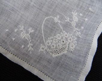 Vintage White on White Embroidery Flower Basket Ladies' Hankie/Handkerchief