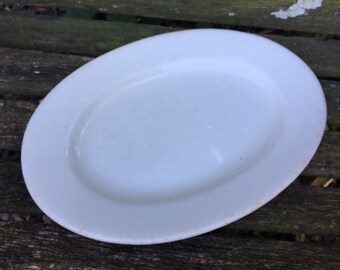 Antique Vintage Ironstone Well Loved Oval Platter by Greenwood China