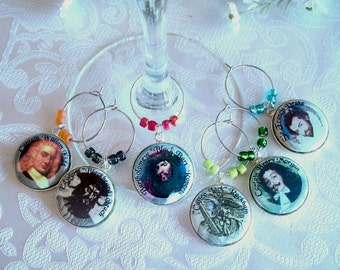 Famous Pirates Wine & Drink Glass Charms - Set of Six