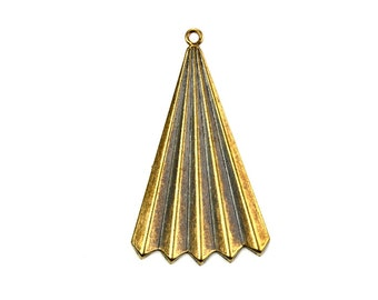 Fan Triangle Charm or Pendant Brass Ox (4) CP305