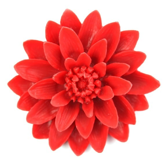 Flower Cabochons Plastic Resin X Large Water Lily 50mm Red