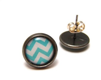 Aqua and White Chevron Earrings - Cute light blue and off-white zig zag print on gunmetal post studs - SMALL 10mm