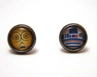 Droid Studs - Mismatched droid post earrings - SMALL 10mm or LARGE 14mm - Handmade Geekery Geek Chic