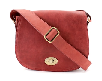 Red Leather Saddle Bag/ Leather Cross Body Bag/ Leather Satchel/ Leather Messenger Bag