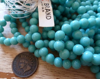 24 Vintage Japan 6mm Turquoise Glass Beads C33