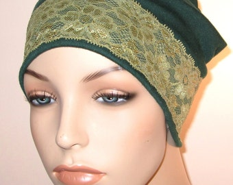Green Stretch Knit  Sleep Cap with Green Lace Trim, Cancer Hat, Hair Loss, Lounge Cap, Chemo Hat
