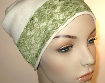 Cream Stretch Knit  Sleep Cap with Green Lace Trim, Cancer Hat, Hair Loss, Lounge Cap, Chemo Hat