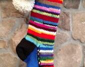 Old Fashioned Hand Knit Christmas Stocking Cobalt Blue Gusset Snowflake Rag Rainbow Stripes