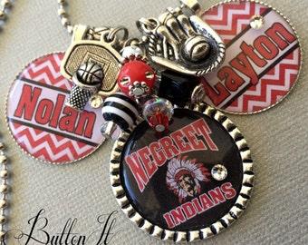 PERSONALIZED necklace, Customized Sports Jewelry, Football Mom, Baseball Mom, CHEVRON, Mascot, Wrestling Mom, sports charm necklace