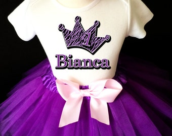 Purple Zebra Princess Crown Pink 1st First Girl Birthday Tutu Outfit Custom Personalized Name Age Party Shirt Set